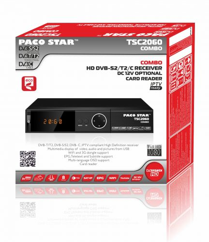 Digital DVB-S2/T2/C HD receiver with IPTV PACO STAR TS2060