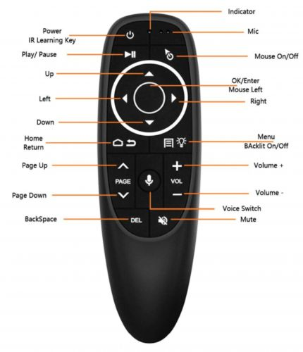 G10 air mouse remote with voice command.